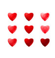 polygonal geometric red hearts on white background vector image