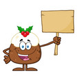pudding holding up a blank wood sign vector image vector image