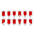 red flag banner 3d blank canvas on chrome steel vector image