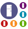 refrigerator icons set vector image vector image