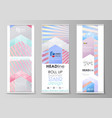 roll up banner stands abstract geometric style vector image vector image