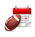 Rugby ball and calendar vector image vector image