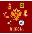 Russian traditional national flat symbols vector image