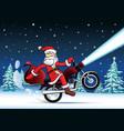 santa bike new year card vector image