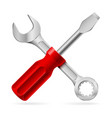 screwdriver and wrench on white background vector image