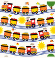 seamless pattern train with fruits vector image