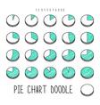 Set volume segment pie charts Sketch diagram with vector image