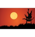 Silhouette of tree monster and full moon vector image