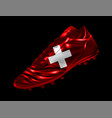 soccer football boot with the flag of switzerland vector image vector image