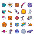 space planets icon set hand drawn style vector image