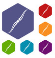 throwing ninja knife icons set hexagon vector image vector image
