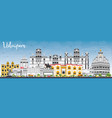 udaipur skyline with color buildings and blue sky vector image vector image