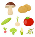vegetables set icons in cartoon style big vector image vector image