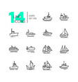water transport - thin line design icons set vector image vector image