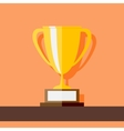 Winner Cup standing at shelf Flat style vector image
