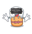with virtual reality easter cake mascot cartoon vector image vector image