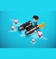 businessman using binoculars to find location vector image