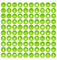 100 wine icons set green circle vector image vector image