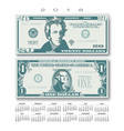 2018 calendar with two us bills greatly simplified vector image vector image