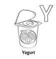 alphabet letter y coloring page yogurt vector image vector image
