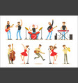 artists playing music instruments and singing on vector image