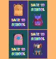 back to school posters set of childish backpacks vector image vector image