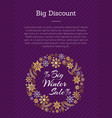 big discount winter sale posterplace for text vector image vector image