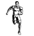 black and white of a runner vector image