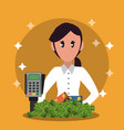 businesswoman and money vector image