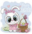 cartoon bunny with a basket of easter eggs vector image