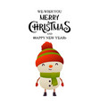 cheerful cute snowman on white background vector image vector image