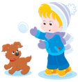 Child plays with a pup vector image vector image