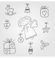 Christmas doodles with angel vector image vector image