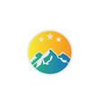 circle mountain rocky logo vector image vector image