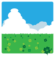 clovers meadow landscape in sunny day vector image vector image