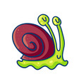 colorful cartoon snail in brown and green colors vector image