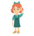 confused caucasian girl scratching head vector image vector image