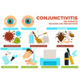 conjunctivitis or pinkeye reasons and preventions vector image vector image