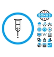 Crutch Flat Icon with Bonus vector image vector image