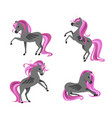 cute dark tattooed unicorns set isolated on white vector image vector image