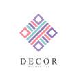 decor original logo creative sign for company vector image vector image