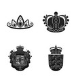 design of crown and royal symbol set of vector image