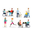 disabled people flat characters set full-fledged vector image