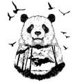 double exposure hand drawn panda partrait vector image vector image