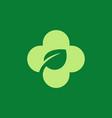 eco leaves cross plus medical logo icon design vector image