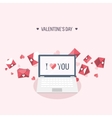 Flat background with laptop vector image vector image