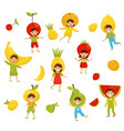 flat set of children in different fruit vector image vector image