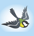 flying titmouse cartoon vector image vector image