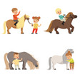 funny little kids riding ponies and taking care of vector image vector image