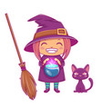 halloween little witch girl kid with smiling face vector image vector image